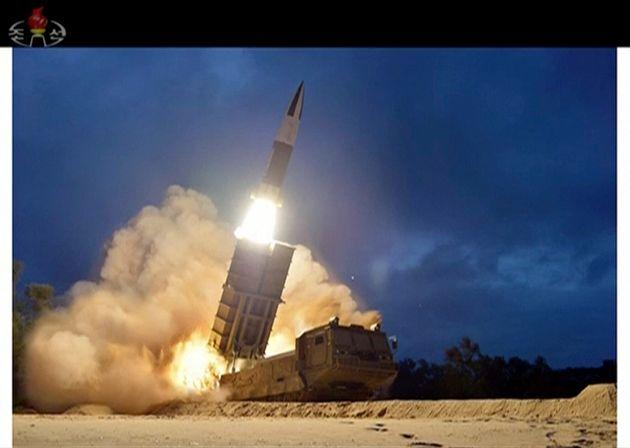 Image d'un test de lancement d'un missile en Corée du Nord en août