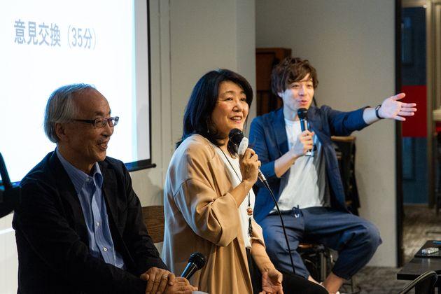 参加者の質問に答える金子さん(左)・白河さん(中央)