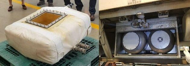 국내 고속열차 화장실의 물탱크(저수조).(왼쪽) 열차 하단에 보이는 급수구 안쪽에 설치돼
