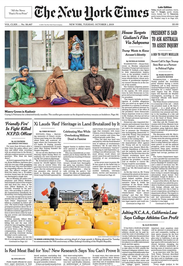 The New York Times front page on 1