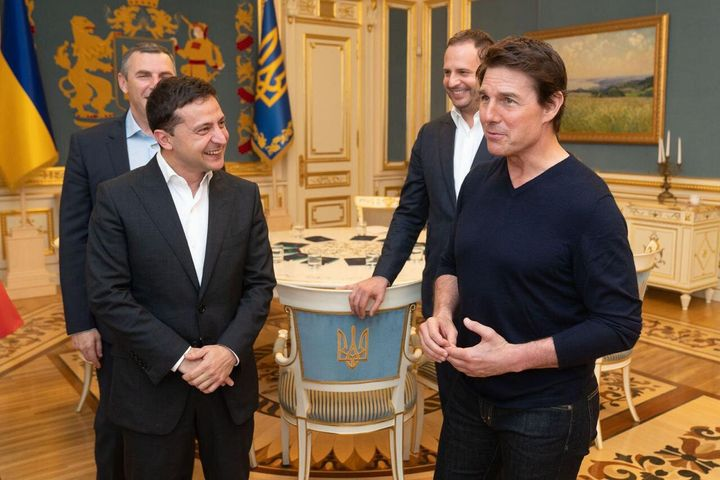 Volodymyr Zelensky and Tom Cruise meet in Kiev on Monday.