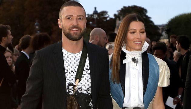 Justin Timberlake et Jessica Biel quelques secondes après l'attaque de Vitalii Sediuk à...