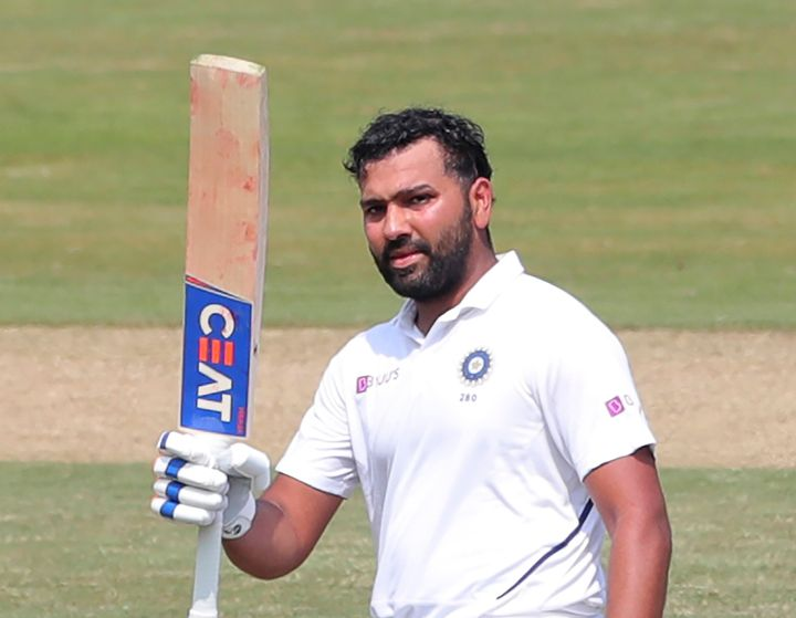 Rohit Sharma after scoring hundred runs during the first day of the first cricket test match against South Africa.