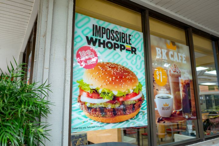 A Burger King in the San Francisco Bay Area advertising the Impossible Whopper, a meat-free burger made from plant protein.