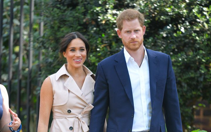 The Duke and Duchess of Sussex arrive to meet with British and South African business representatives in Johannesburg, South Africa on Wednesday.