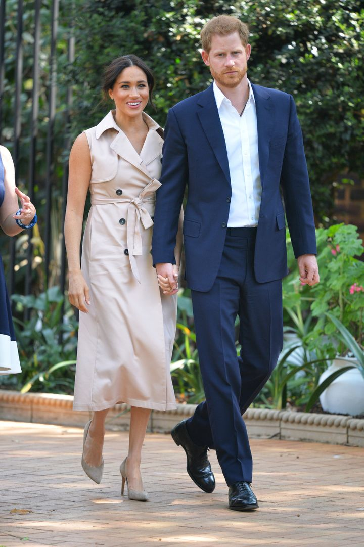 The Duke and Duchess of Sussex arrive to meet with British and South African business representatives at reception in Johannesburg, South Africa, on Oct. 2, 2019.