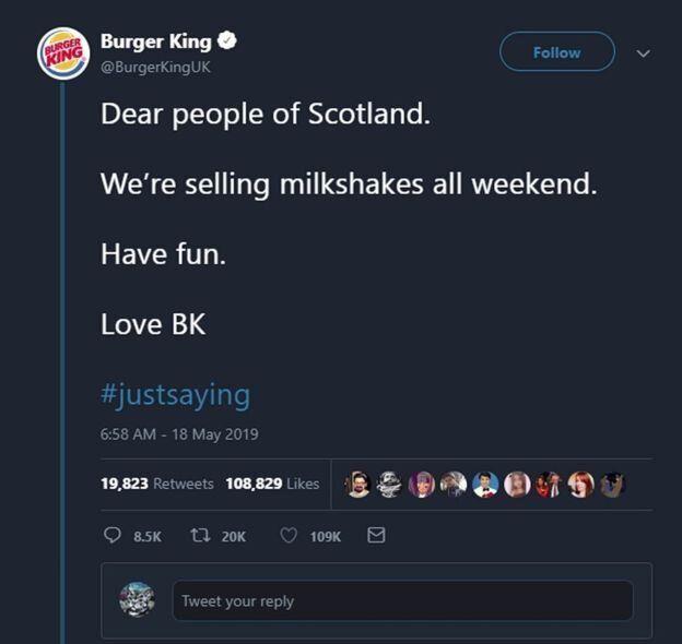 Burger King UK a posté ce tweet le lendemain de l'interdiction des milkshakes chez son concurrent