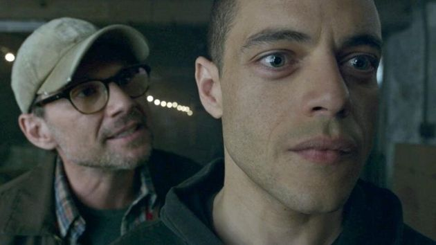 Christian Slater and Rami Malek in