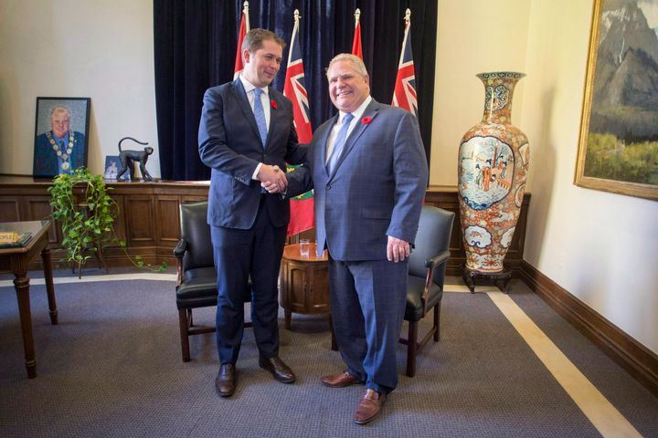 Ontario Premier Doug Ford meets with federal Conservative Leader Andrew Scheer at Queen's Park in Toronto on Oct. 30, 2018.