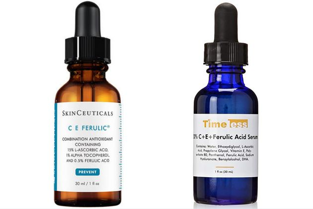 The SkinCeuticals product on the left costs $166, where Timeless' serum on the right has been discounted...