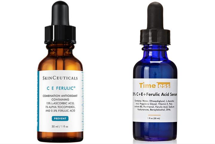 The SkinCeuticals product on the left costs $166, where Timeless' serum on the right has been discounted to just $18.