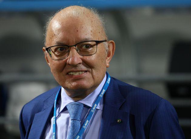 REGGIO NELL'EMILIA, ITALY - SEPTEMBER 30: Giorgio Squinzi of US Sassuolo looks on before the Serie A...