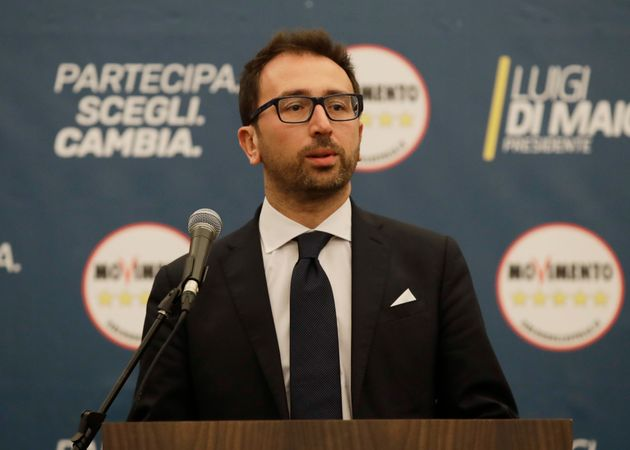 M5S Alfonso Bonafede speaks after polling stations closure at the electoral headquarters of Five-Star...