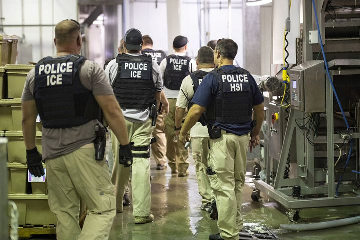 Homeland Security Investigations (HSI) officers from Immigration and Customs Enforcement (ICE) look on after executing search