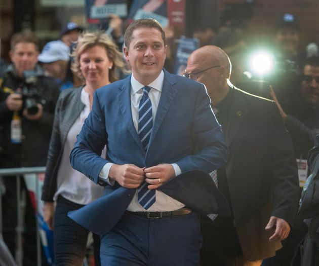 Conservative Leader Andrew Scheer arrives for the TVA french language debate in Montreal on Oct. 2,
