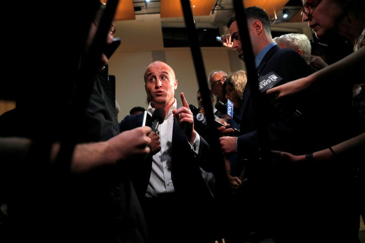 Rep. Max Rose (D-N.Y.) meets the press following a town hall where he announced his support for an impeachment inquiry into P