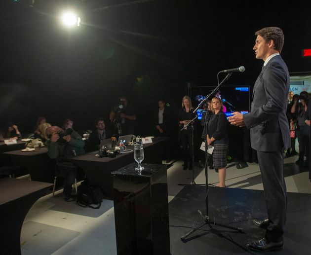 Liberal Leader Justin Trudeau speaks to the media after the TVA French debate in Montreal on
