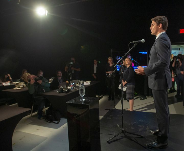 Liberal Leader Justin Trudeau speaks to the media after the TVA French debate in Montreal on Wednesday.