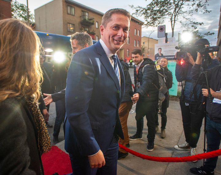 Conservative Leader Andrew Scheer arrives for the TVA french language debate in Montreal on Wednesday.