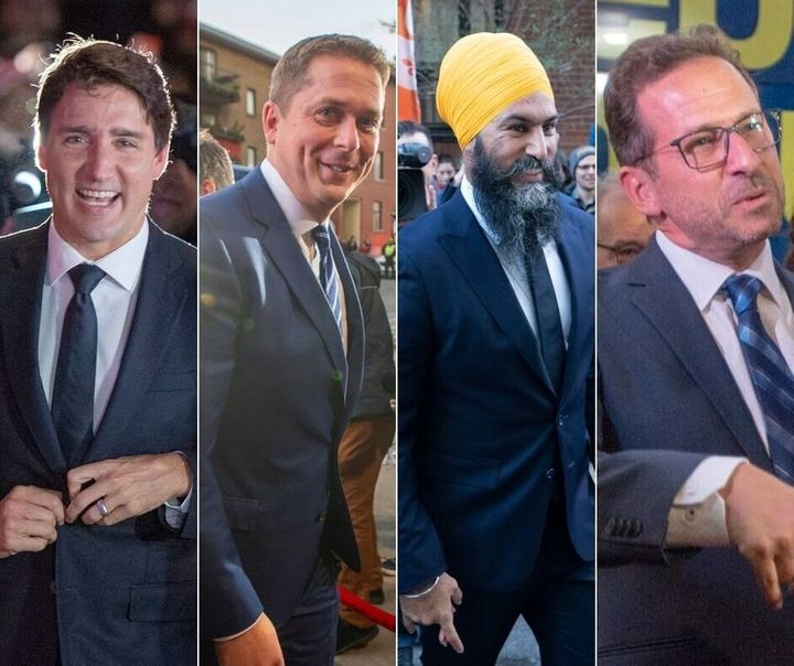A composite image of Liberal Leader Justin Trudeau, Conservative Leader Andrew Scheer, NDP Leader Jagmeet Singh and Bloc Quebecois Leader Yves-Francois Blanchet  arriving to the first French-language debate.