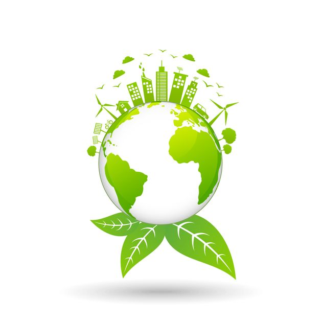 Ecology concept with green city on earth, World environment and sustainable development concept, vector