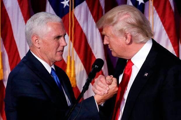 Pence (izq) y Trump (der) en una imagen de