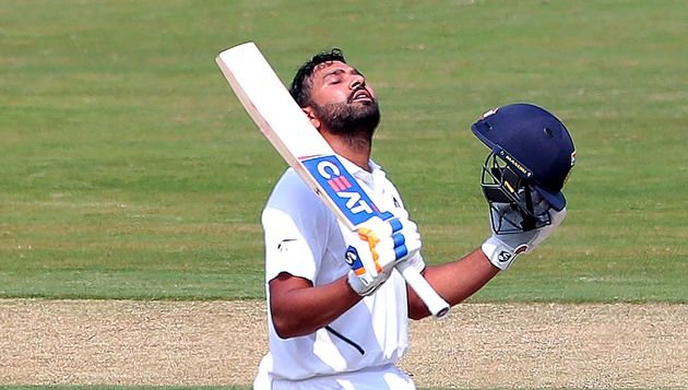 Rohit Sharma after scoring a hundred runs during the first day of the first cricket test match against...