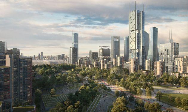 Recreación del aspecto que tendrá Madrid Nuevo Norte sobre las vías que terminan...