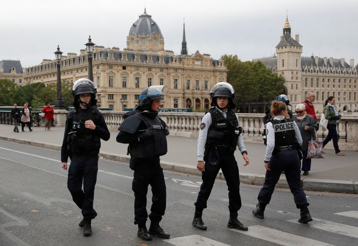 <strong>French police secure the area in front of the Paris Police headquarters in Paris.</strong>