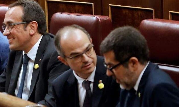 Josep Rull, Jordi Turull y Jordi Sànchez, el 21 de mayo en el