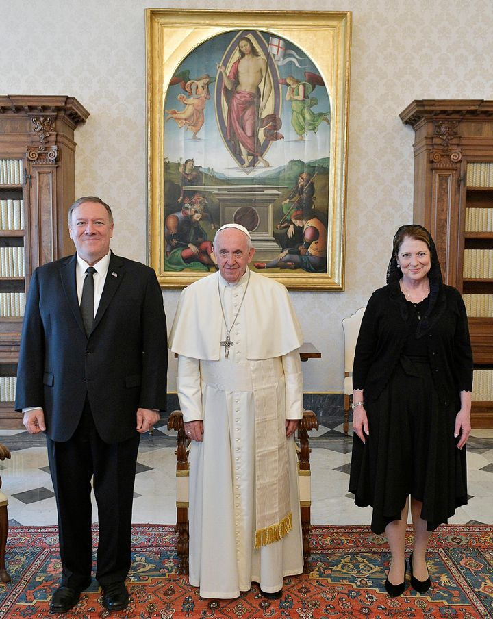 U.S. Secretary of State Mike Pompeo meets with Pope Francis at the Vatican, October 3, 2019.
