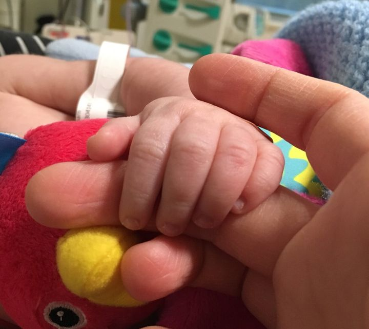 Baby Ned's hand while in hospital.