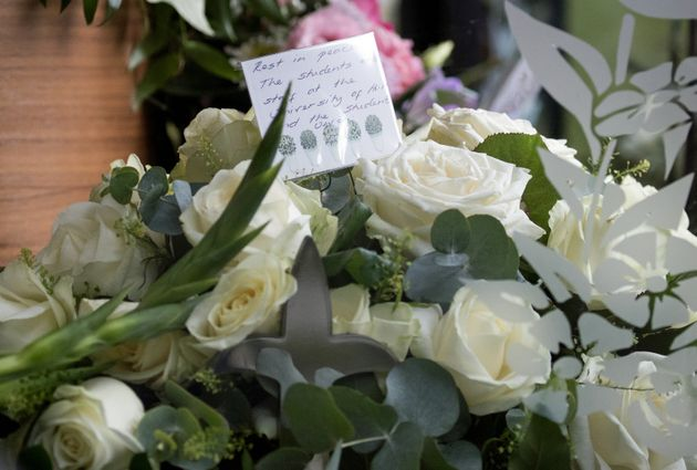 A floral tribute from students and staff from the University of