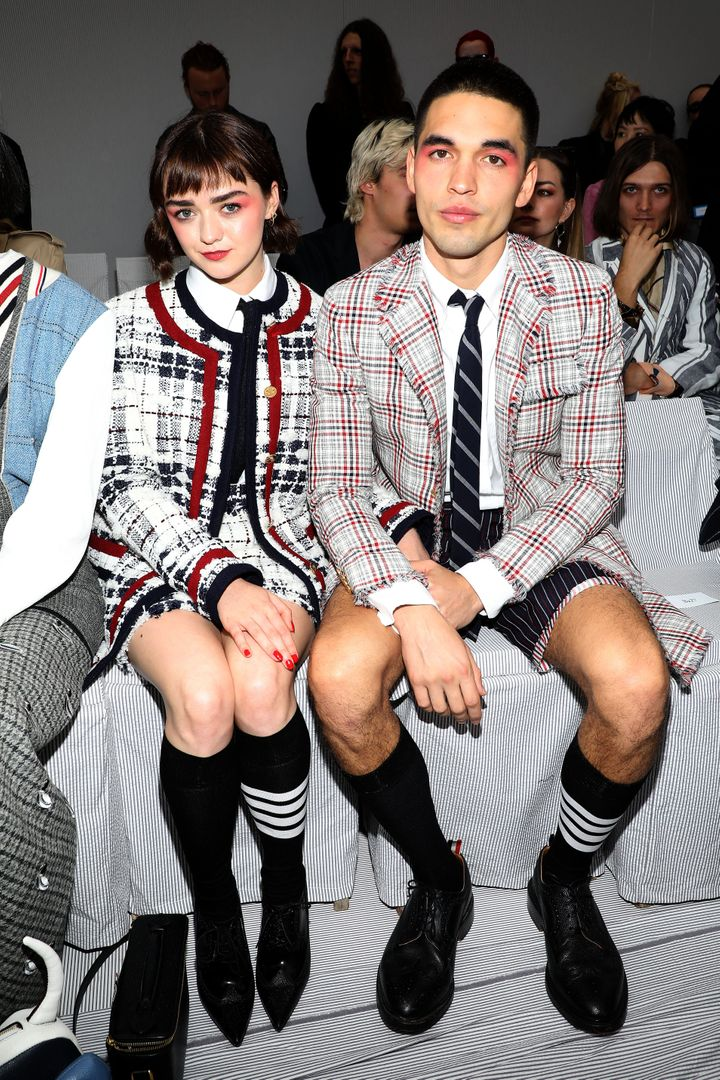 Maisie Williams and Reuben Selby attend the Thom Browne womenswear spring/summer 2020 show as part of Paris Fashion Week.