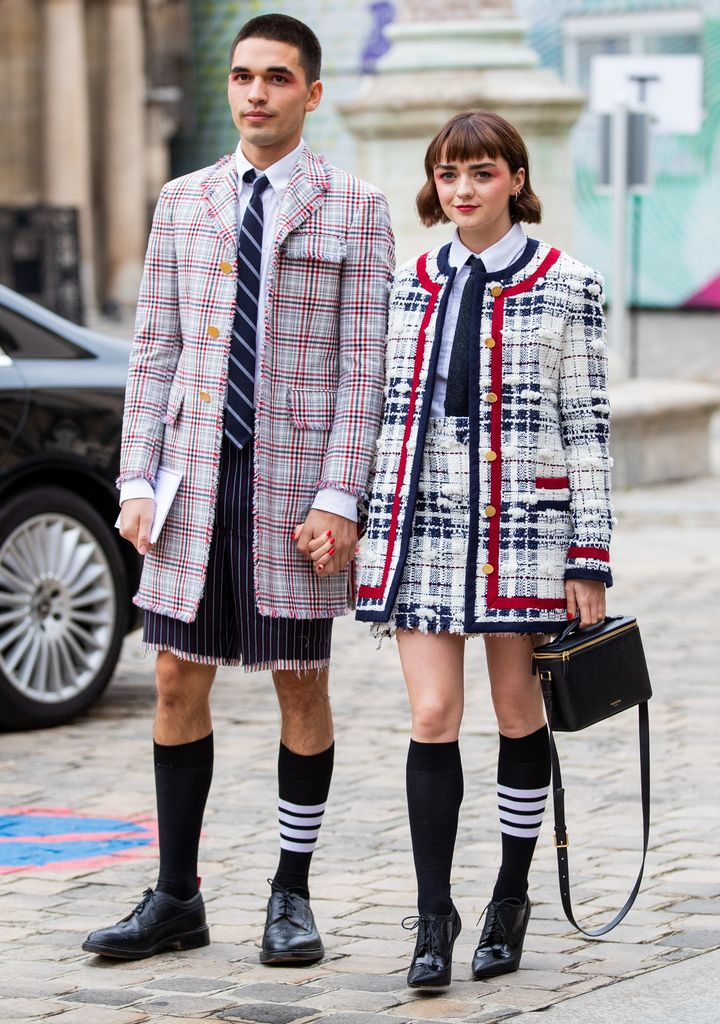Selby and Williams outside the Thom Browne show during Paris Fashion Week.