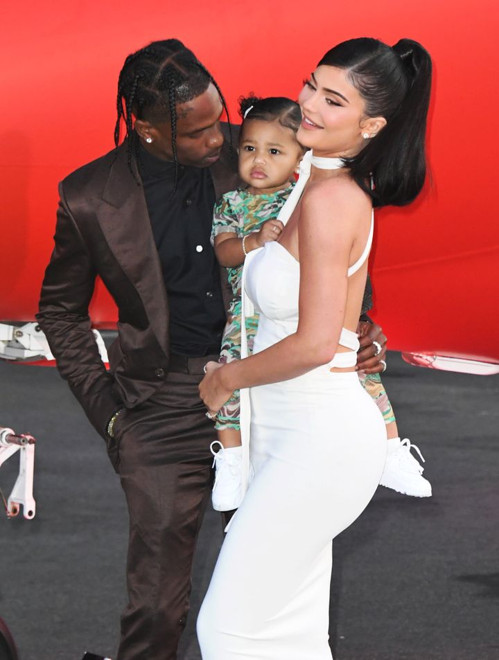 "Travis Scott, Stormi Webster and Jenner attend the premiere of Netflix's ""Travis Scott: Look Mom I Can Fly"" in September."