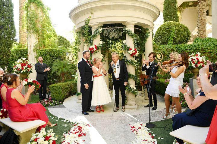 Rod Stewart as a wedding singer? He wears it well.