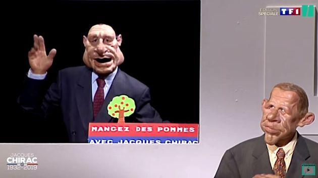 Jacques Chirac dans Les Guignols de l'info en plein slogan