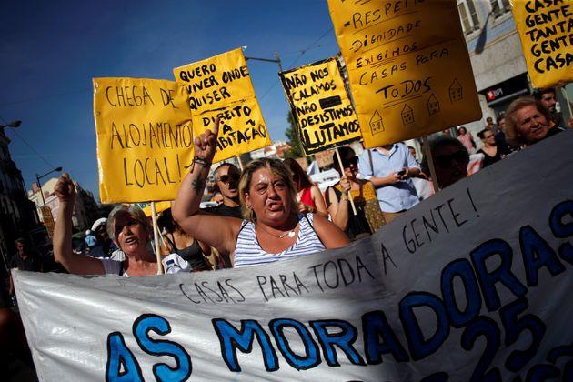 Manifestación por una vivienda digna en Lisboa, en septiembre de