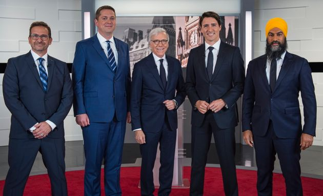 From left to right, Bloc Quebecois Leader Yves-Francois Blanchet, Conservative Leader Andrew Scheer,...