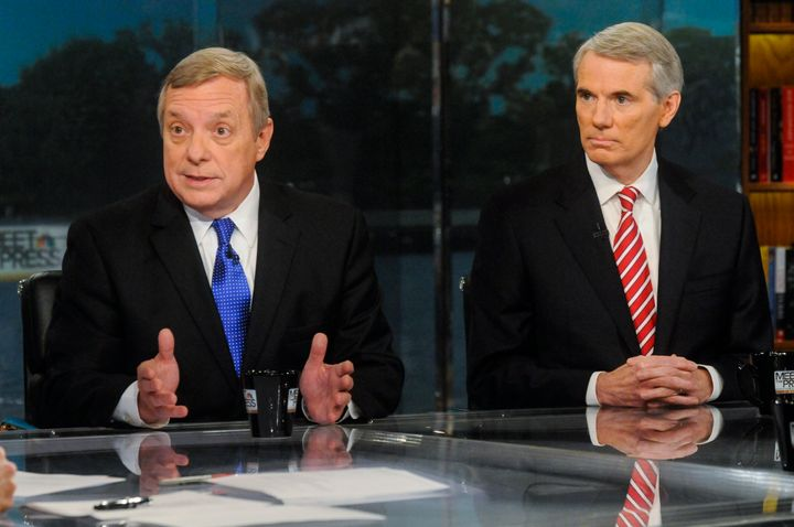 "Sens. Dick Durbin (D-Ill.), left, and Rob Portman (R-Ohio), right, appear on ""Meet the Press"" in 2013."