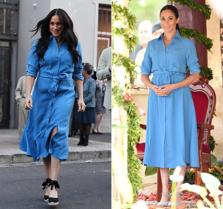 (Left) Meghan leaves the District Six Museum in Cape Town on Sept. 23, 2019, the first day of their African tour. (Right) She