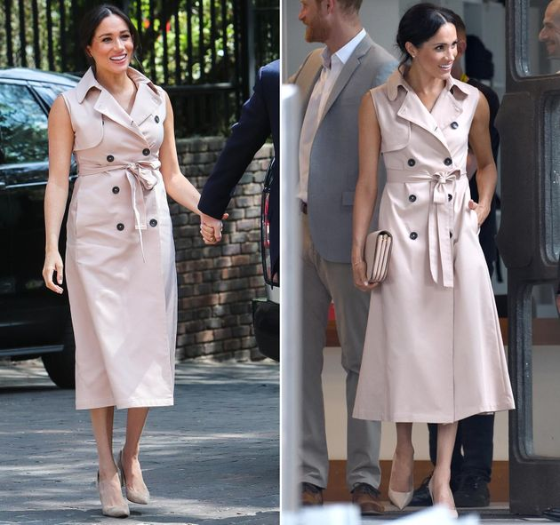 (Left) The Duchess of Sussex arrives to meet Graça Machel, widow of the late Nelson Mandela,...