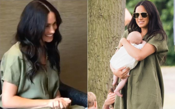 (Left) Meghan on a Skype call with theNalikule College of Education on Sept. 29, 2019. (Right) The Duchess of Sussex at