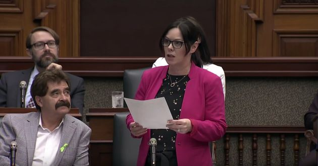 NDP MPP Lisa Gretzky speaks in the Ontario legislature on May 16,