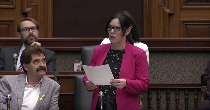 NDP MPP Lisa Gretzky speaks in the Ontario legislature on May 16, 2019.