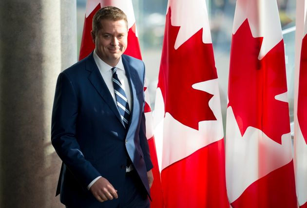 Conservative leader Andrew Scheer arrives for a morning announcement in Toronto Tuesday, October 1,