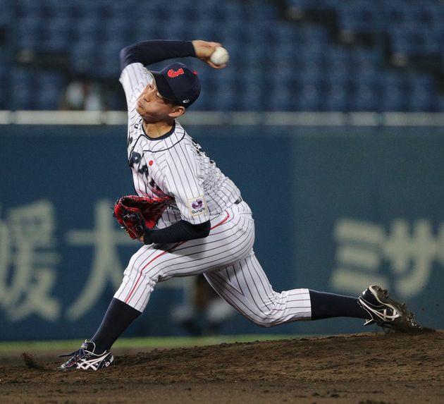 吉田投手(日体大)はストレートで押すスタイル。