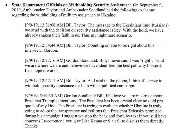우크라이나에 '대가'를 언급한 트럼프 정부 고위 관계자의 문자가