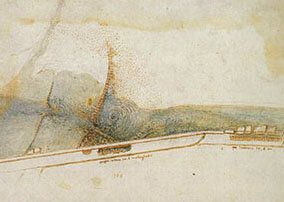 Figura 2. Illustrazione a inchiostro e acquarello del vortice che si forma a valle di una apertura eccentrica...